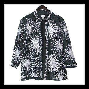 Chico's Black Silk White Floral Embroidery Blazer